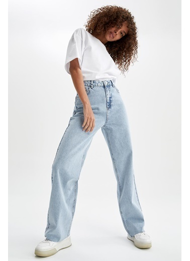 DeFacto 90's Geniş Paça Yüksek Bel Jean Pantolon Mavi